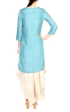 Blue embroidered satin & crepe silk kurta with palazzos