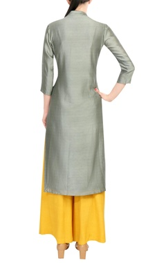 Grey embroidered chanderi kurta with yellow palazzos