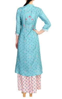 Blue satin blend printed kurta with palazzo pants