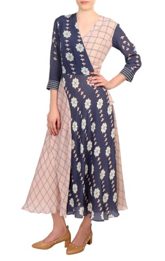 Blush pink & blue printed wrap crepe silk dress