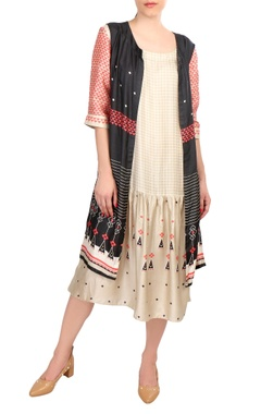 SOUP by Sougat Paul Beige tussar printed dress with sleeveless jacket