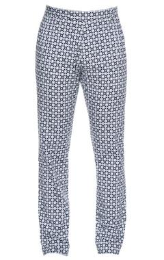 Black & white jaali printed cotton satin lycra pants