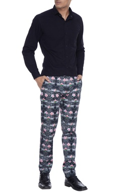 Mr. Ajay Kumar - Men Multicolored floral & indie lotus printed nehru trousers