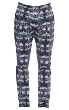 Multicolored floral & indie lotus printed nehru trousers