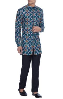 Mr. Ajay Kumar - Men Blue pure linen kurta shirt in vivid rudra print
