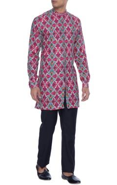 Mr. Ajay Kumar - Men Magenta linen henley kurta shirt