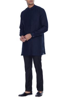 Mr. Ajay Kumar - Men Navy blue kurta shirt with attached bib detail & henley collar