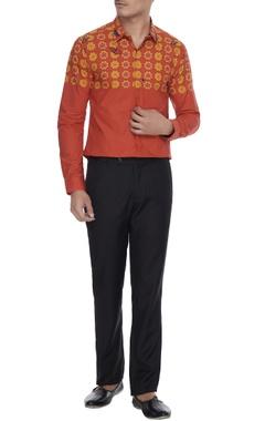 Mr. Ajay Kumar - Men Orange butterfly printed collar shirt with long sleeves