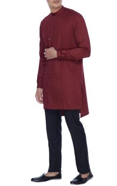 Mr. Ajay Kumar - Men Amaranth maroon kurta style shirt