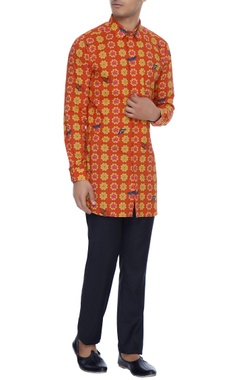 Mr. Ajay Kumar - Men Red & yellow printed luxe cotton kurta shirt