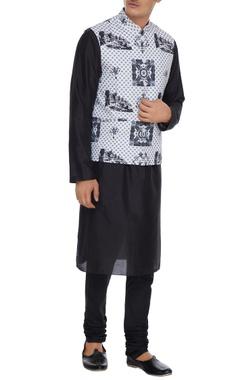 Mr. Ajay Kumar - Men White pure cotton banaris printed bundhi jacket