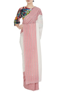 Striped sari with multicolored sequin & bead hand embroidered blouse
