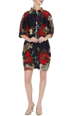 Black raw silk split face & floral motif shirt dress