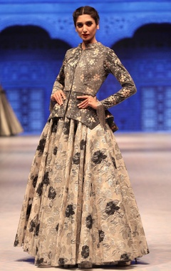 Vikram Phadnis Grey & silver suede jacket with cutdana embroidered lehenga