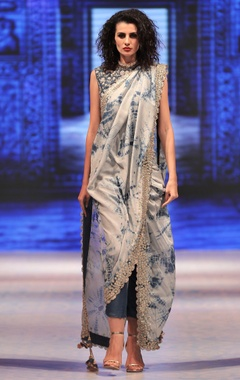 Cobalt blue tie-dye pre-draped saree with attached pants & blouse