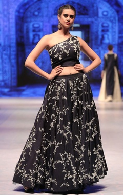 Vikram Phadnis Navy blue silk cutdana embroidered lehenga with one-shoulder blouse