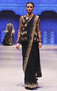 Navy blue zardozi & resham embroidered sari set