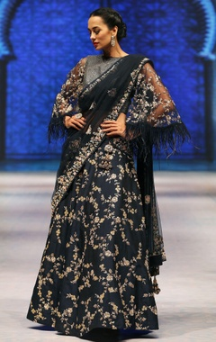 Black sequin & cutdana embroidered lehenga set with bell sleeves blouse