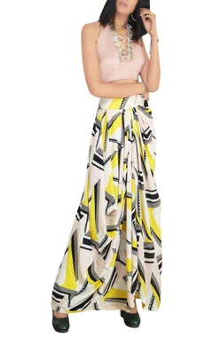 Blush pink satin halter blouse with multi-printed georgette draped skirt