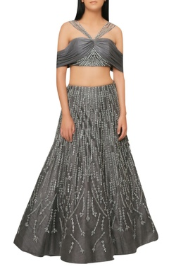 Reeti Arneja Charcoal grey handcrafted lehenga with off-shoulder blouse