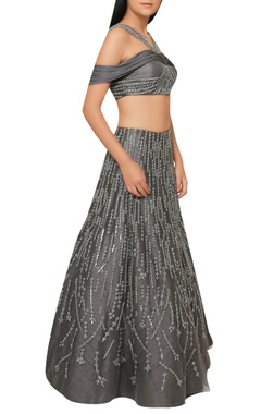 Charcoal grey handcrafted lehenga with off-shoulder blouse