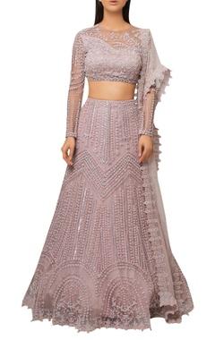 Reeti Arneja Blush pink organza embroidered lehenga with sheer back blouse