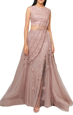 Reeti Arneja Pink net organza embroided lehenga with attached draped dupatta