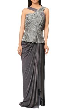 Reeti Arneja Grey pre-stitched saree with embellished peplum yoke