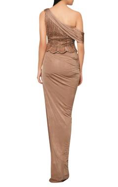 Mocha brown draped saree with embellished peplum yoke.