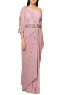 Reeti Arneja Pink satin draped saree gown with intricate embrodiery