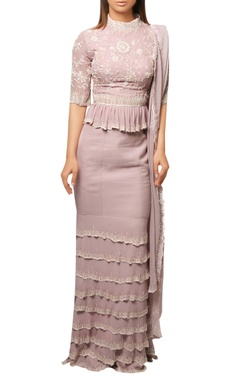 Reeti Arneja Lilac mermaid style layered skirt with peplum top & embrodiered dupatta.