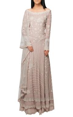 Reeti Arneja Rudy pink lehenga with embellished layered kurta and dupatta