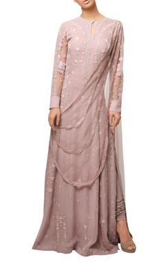 Reeti Arneja Pink crystal embroidered draped style kurta set