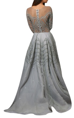 Blue floor-length net organza flared gown embellished with floral motifs.