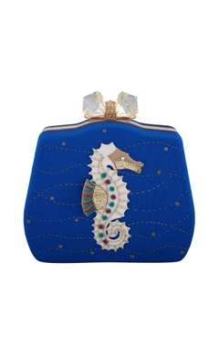 Blue seahorse hand-embroidered patch clutch