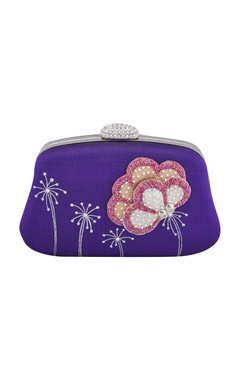 Purple 3D floral patchwork & hand-embroidered clutch