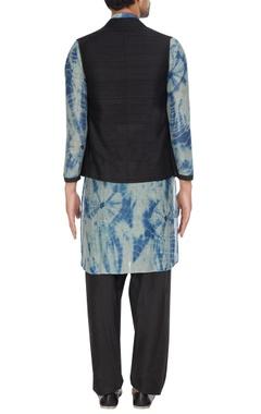 Black raw silk nehru jacket with tie-dye kurta & pants