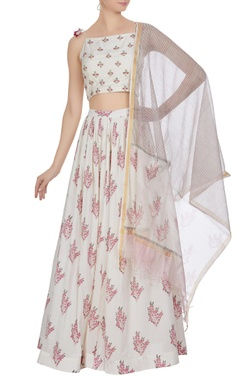 Hand embroidered & floral printed lehenga set