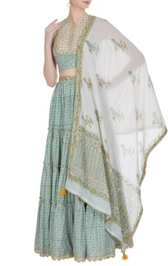 Embroidered blouse with frill lehenga and dupatta.