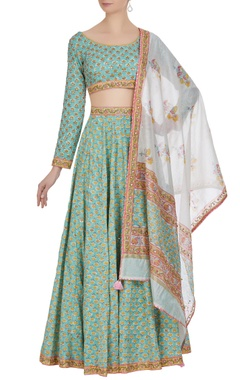 Jaipuri printed & hand embroidered lehenga set