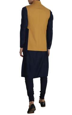 Mustard nehru jacket with buckle detail