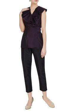 Gauri & Nainika Aubergine purple taffeta silk ruffle blouse with tie-up accents
