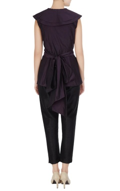 Aubergine purple taffeta silk ruffle blouse with tie-up accents