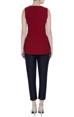 Maroon micro-crepe sleeveless peplum blouse