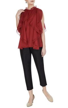 Gauri & Nainika Red organza frilled blouse