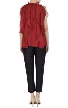 Red organza frilled blouse