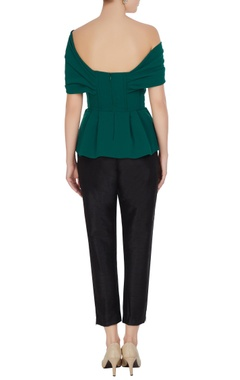 Green micro crepe bow detail neckline blouse