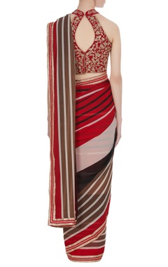 Border detailed sari with embroidered blouse
