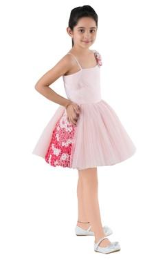 Pink swarovski crystal embellished party dress.