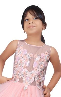 Peach net ballerina dress with zardozi embroidered lace